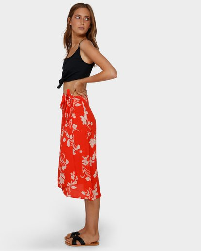 2 MAD LOVE FLORAL SKIRT Orange 6591522 Billabong