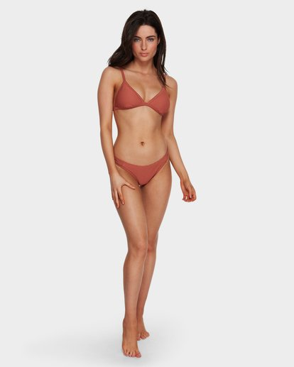 7 Tanlines Fixed Tri Bikini Top Brown 6591585X Billabong