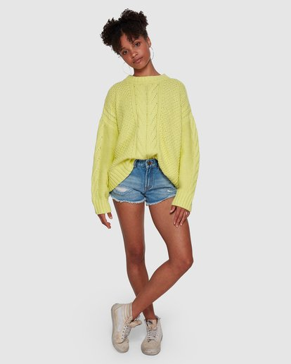 6 Color Pop Cable Sweater Yellow 6591792M Billabong