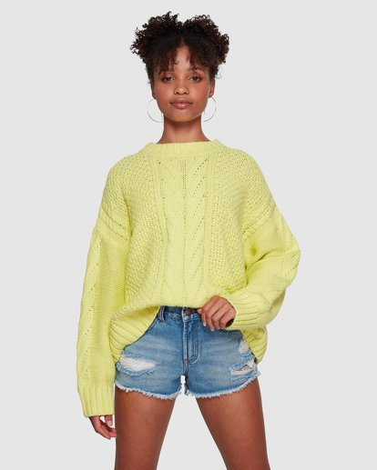 1 Color Pop Cable Sweater Yellow 6591792M Billabong