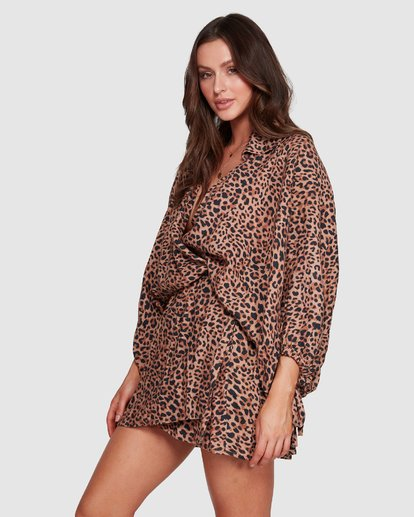 4 Elle Ferguson Babin Wrap Dress Brown 6592491M Billabong