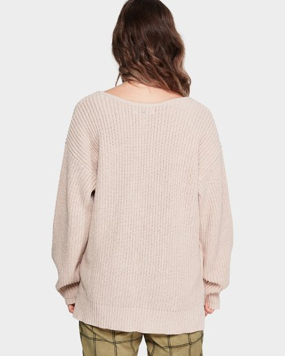 2 Malibu Knit V Neck Sweater Beige 6595799M Billabong