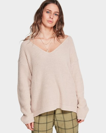 0 Malibu Knit V Neck Sweater Beige 6595799M Billabong