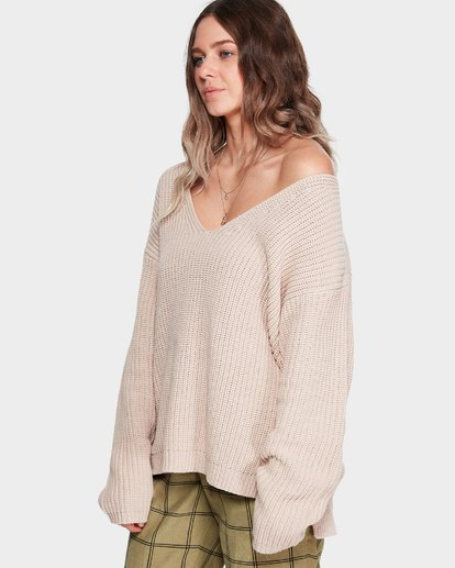 1 Malibu Knit V Neck Sweater Beige 6595799M Billabong