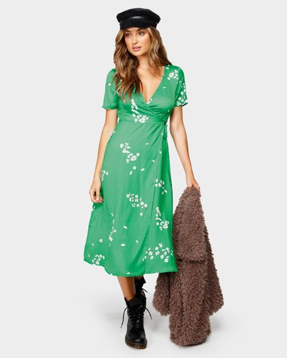 3 JADE WRAP DRESS Green 6596485M Billabong