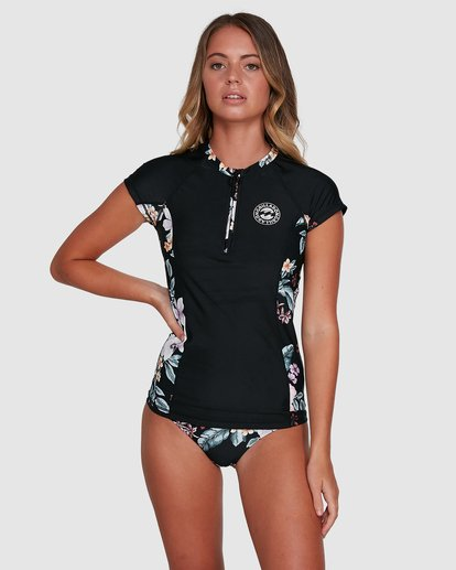 1 Tiki Short Sleeve Rash Vest Black 6704006 Billabong