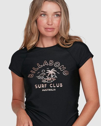 4 Surf Club Short Sleeve Rash Vest Black 6704012 Billabong