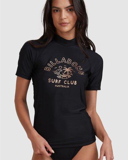 5 Surf Club Short Sleeve Rash Vest Black 6704012 Billabong