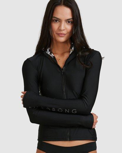 3 Tropicool Zip Thru Long Sleeve Rashie Black 6713010 Billabong
