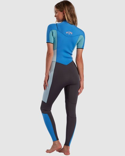2 2/2 Synergy Chest Zip Short Sleeve Fullsuit Blue 6717610 Billabong