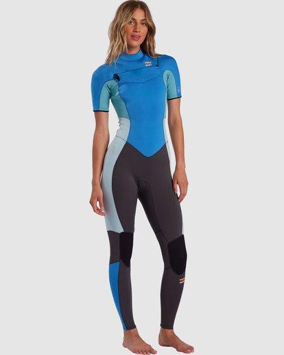 1 2/2 Synergy Chest Zip Short Sleeve Fullsuit Blue 6717610 Billabong