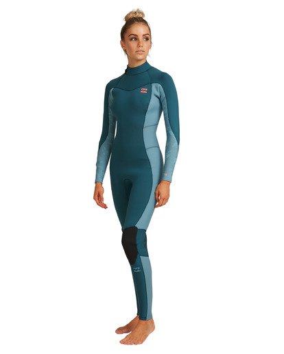 9 3/2 Synergy Back Zip Long Sleeve Flatlock Fullsuit Blue 6717700 Billabong