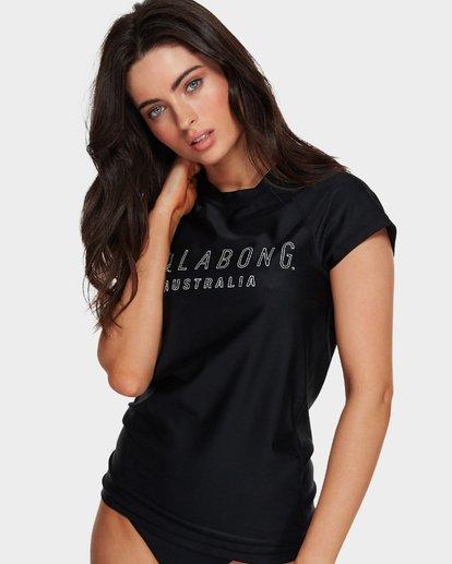 0 Mighty Fine Short Sleeve Rash Vest Black 6781001 Billabong