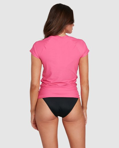 2 So Fine Short Slv Rashguard Pink 6792025X Billabong