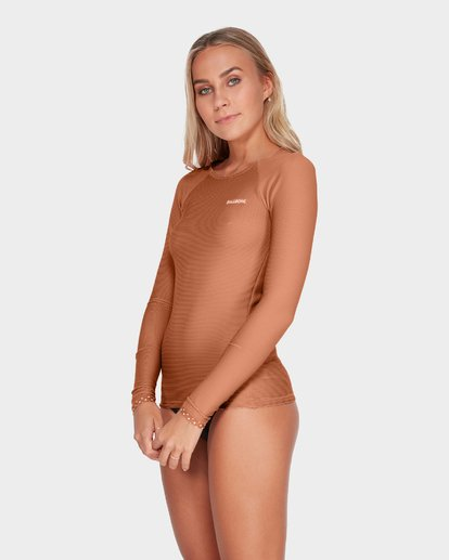 1 TANLINES LONG SLEEVE RASH VEST Brown 6795002 Billabong