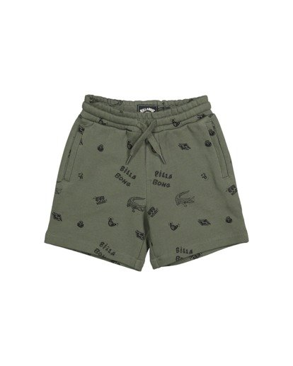 3 Groms Printed Fleece Shorts Green 7517700 Billabong