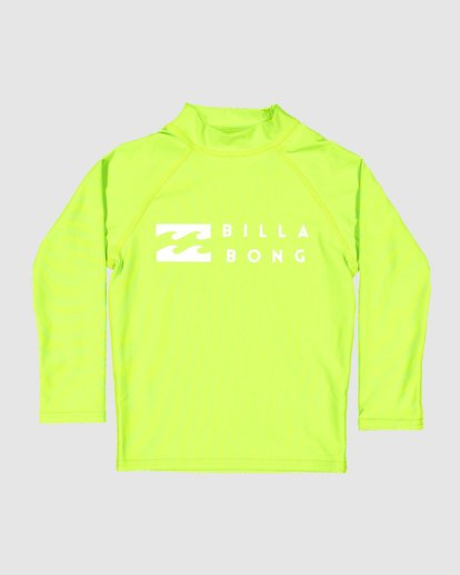 3 Groms Union Regular Fit Long Sleeve Rash Vest Green 7703001 Billabong