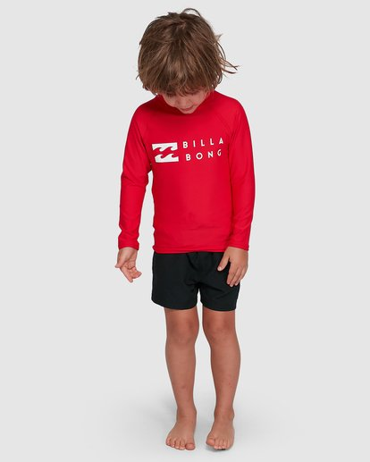 6 Groms Union Regular Fit Long Sleeve Rash Vest Red 7703001 Billabong