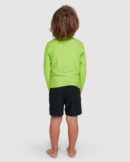 2 Groms Union Regular Fit Long Sleeve Rash Vest Green 7703001 Billabong