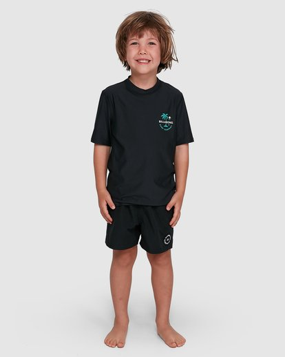 6 Groms Vacation Loose Fit Short Sleeve Rashie Black 7703002 Billabong