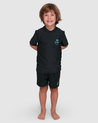 0 Groms Vacation Loose Fit Short Sleeve Rashie Black 7703002 Billabong