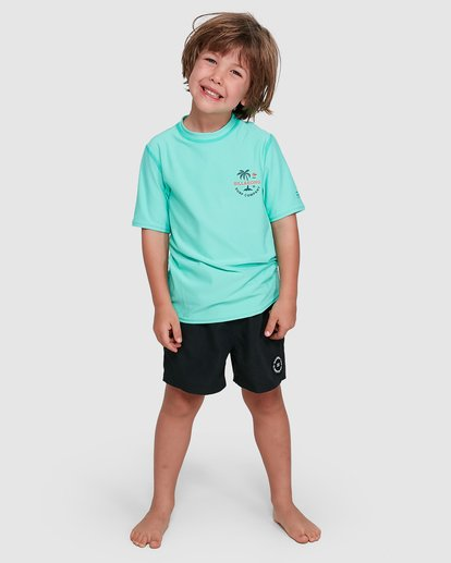 0 Groms Vacation Loose Fit Short Sleeve Rashie Blue 7703002 Billabong
