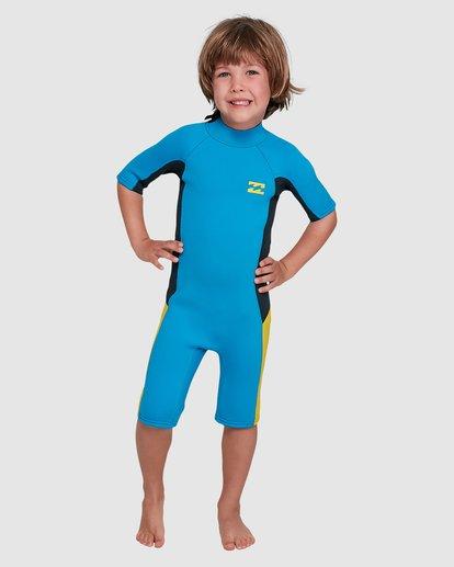 2 Toddler 2/2 Absolute Flatlock Back Zip Short Sleeve Springsuit Blue 7703400 Billabong