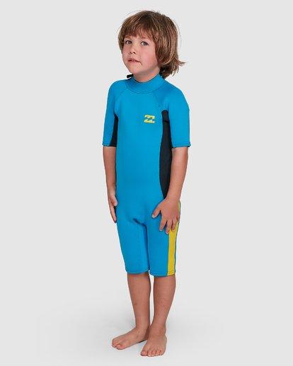 3 Toddler 2/2 Absolute Flatlock Back Zip Short Sleeve Springsuit Blue 7703400 Billabong