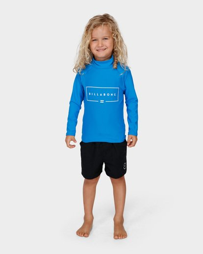 0 Groms Union Relaxed Fit Long Sleeve Rash Vest Blue 7791502 Billabong