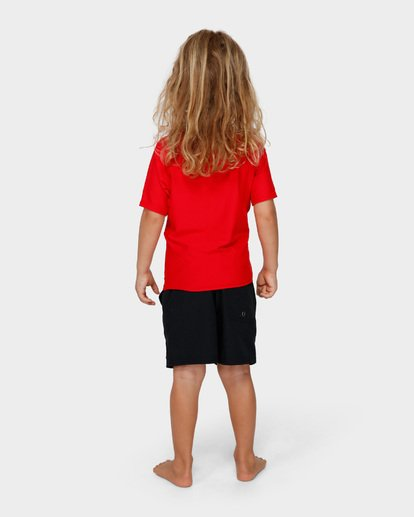 2 Groms Union Relaxed Fit Short Sleeve Rash Vest Red 7791503 Billabong
