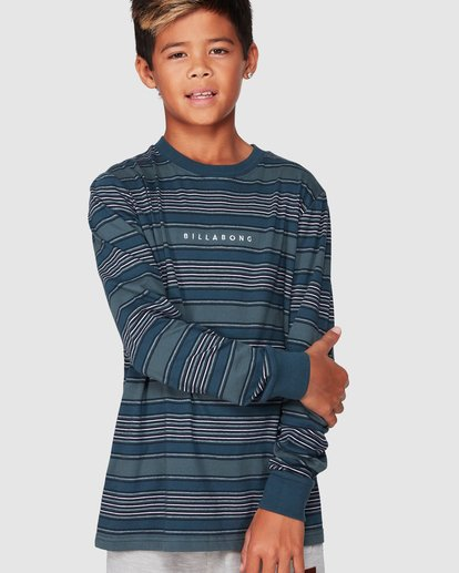 0 Boys Mix Up Stripe Long Sleeve Tee Blue 8507046 Billabong