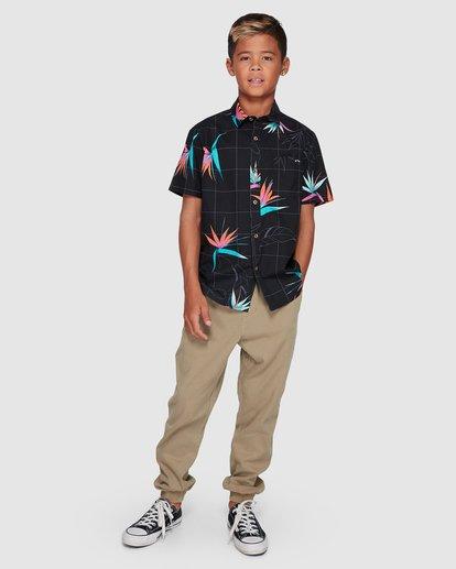 6 Boys Sundays Floral Short Sleeve Shirt Black 8507202 Billabong