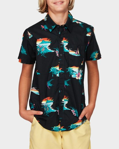 0 Boys Sundays Floral Short Sleeve Shirt Black 8592205 Billabong