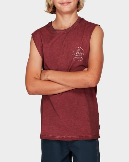 0 Boys Wavy Davy Muscle Tee Red 8592503 Billabong