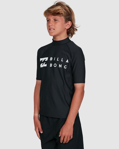 7 Boys Union Regular Fit Short Sleeve Rash Vest Black 8703000 Billabong
