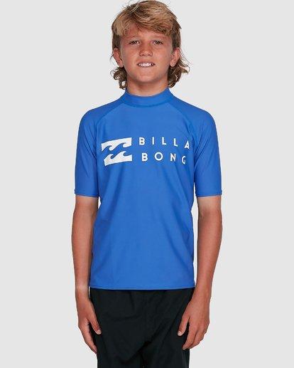 6 Boys Union Regular Fit Short Sleeve Rash Vest Blue 8703000 Billabong