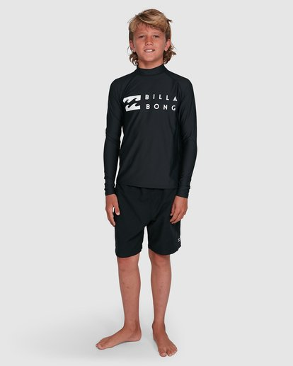 5 Boys Union Regular Fit Long Sleeve Rash Vest Black 8703001 Billabong