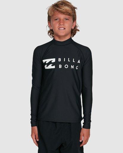 6 Boys Union Regular Fit Long Sleeve Rash Vest Black 8703001 Billabong