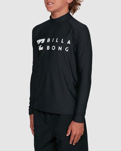 1 Boys Union Regular Fit Long Sleeve Rash Vest Black 8703001 Billabong