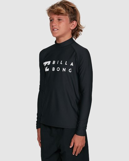 7 Boys Union Regular Fit Long Sleeve Rash Vest Black 8703001 Billabong