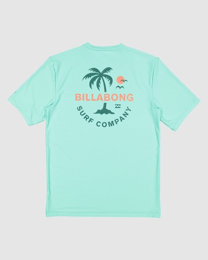 10 Boys Vacation Loose Fit Short Sleeve Rash Vest Blue 8703002 Billabong