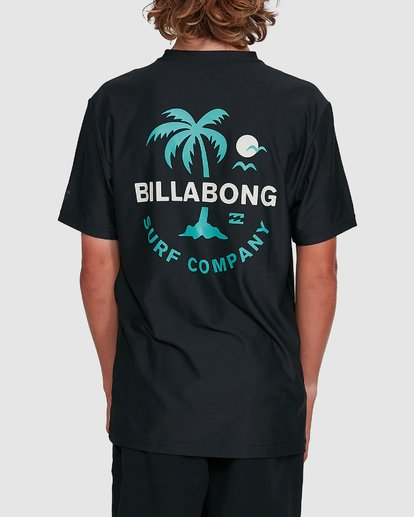 3 Boys Vacation Loose Fit Short Sleeve Rash Vest Black 8703002 Billabong