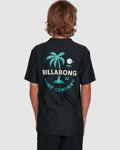 6 Boys Vacation Loose Fit Short Sleeve Rash Vest Black 8703002 Billabong