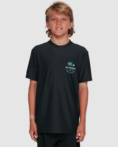 4 Boys Vacation Loose Fit Short Sleeve Rash Vest Black 8703002 Billabong