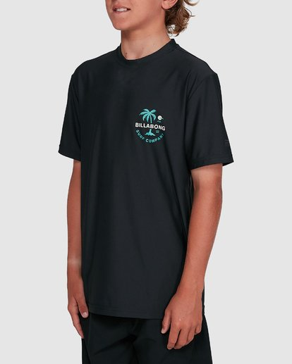 2 Boys Vacation Loose Fit Short Sleeve Rash Vest Black 8703002 Billabong