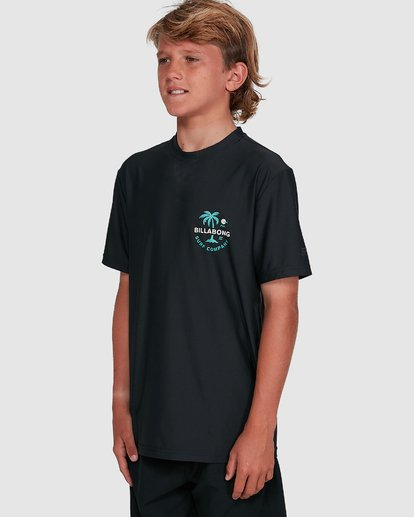 5 Boys Vacation Loose Fit Short Sleeve Rash Vest Black 8703002 Billabong