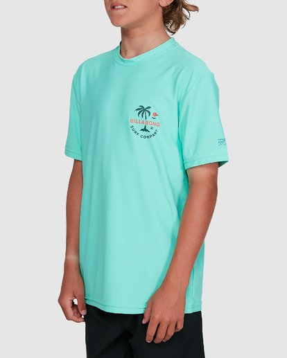 2 Boys Vacation Loose Fit Short Sleeve Rash Vest Blue 8703002 Billabong