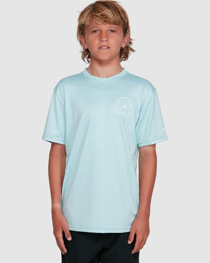 4 Boys Rotor Loose Fit Short Sleeve Rash Vest Blue 8703005 Billabong