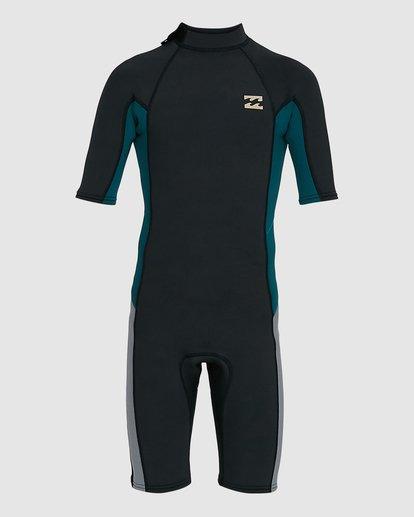1 Boys 2/2 Absolute Flatlock Back Zip Short Sleeve Springsuit Black 8703400 Billabong