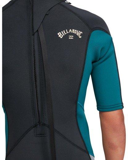 9 Boys 2/2 Absolute Flatlock Back Zip Short Sleeve Springsuit Black 8703400 Billabong